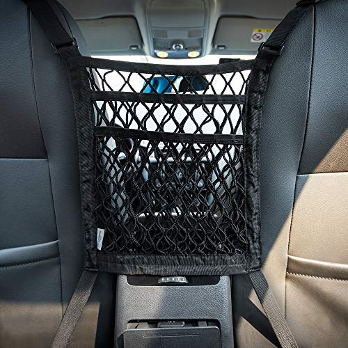 MICTUNING 3-Layer Car Mesh Organizer Storage Seat Back Cargo Net Bag Pouch for Purse Luggage Pets Barrier Children Kids