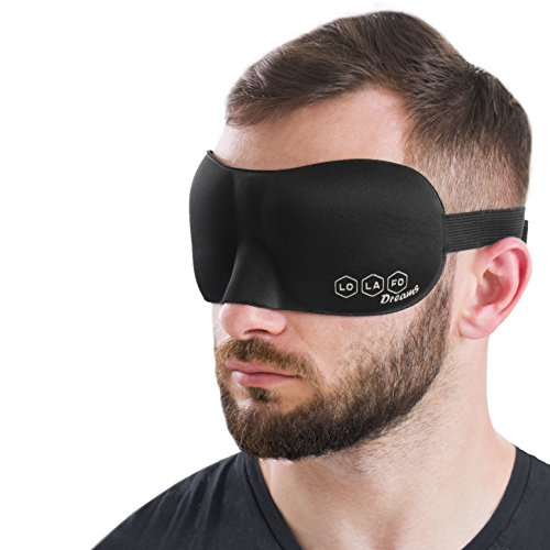 Cotton Sleep Mask for Women and Men – Night Mask – Sleeping Mask and Ear Plugs – 3D Contoured Eye Mask for Sleeping Comfortable Adjustable - Great for Travel, Shift Work Naps Meditation – Black
