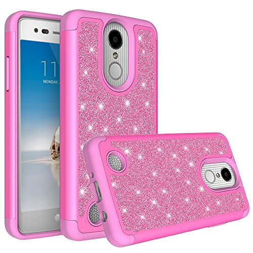 LG K30 Case (X410), LG Premier Pro LTE Case, LG K10 2018 Case (MS425) with [HD Screen Protector] Diamond Bling Hybrid Protective Glitter Case Cover (Hot Pink)