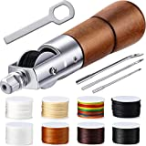 12 Pieces Leather Sewing Awl Kit Hand Stitcher with Craft Accessories Set, Hand Awl Tool, 3 Sizes Needles and 8 Colors Replacement Spools of Thread, Stitching Awl Tool Kit for Leather Fabric Supplies