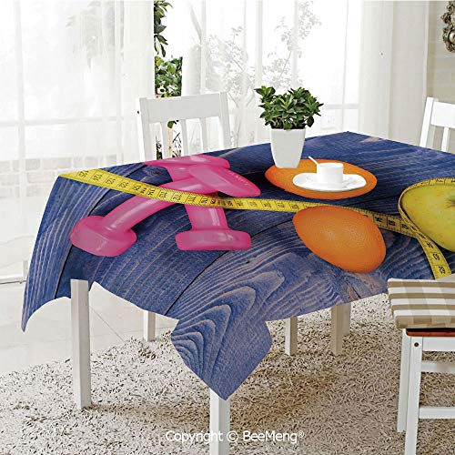 BeeMeng Dining Kitchen Polyester dust-Proof Table Cover,Fitness,Womens Dumbbells Apples Oranges Measuring Tape Eat Clean Live Active Theme Objects Decorative,Multicolor,Rectangular,59 x 59 ()