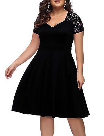2d1a39d4a724 ORICSSON Women Plus Size Deep V-Neck Lace Short Sleeves Evening Dress