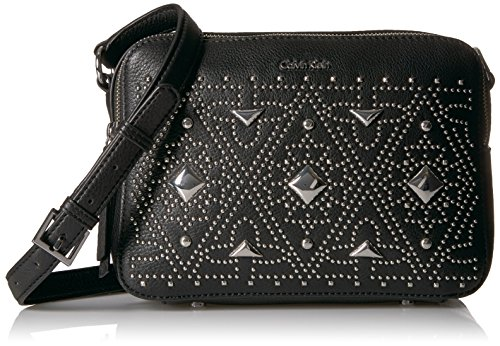 Calvin Klein Avery Pebble All-Over Pyramid Stud Embellished Camera Bag Crossbody Cross Body, BLK PYRAMID, One Size