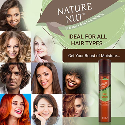 Nature Nut Hair Serum Moisturizer for Frizzy Hair - Anti Frizz Hair Gloss Serum Split End Repair Treatment for Dry Damaged Hair with 5 Nut Hydration Formula