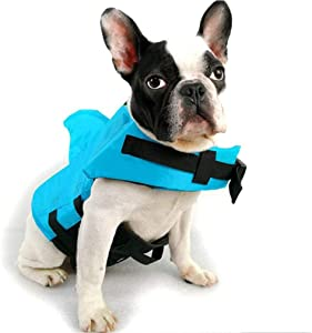 JHKSO Dog Life Jackets Swimming Vests with Safe Flotation Devices, Adjustable Reflective Swimsuit, Easy Grab Handle, Preserver Lifesaver for Large Medium Small