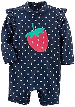 Carter's Baby Girls' Rashguard, Navy Dot Strawberry, 3M