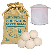 Wool Dryer Balls - Pack of 6 XL - Organic Natural Fabric Softener, Replaces Dryer Sheets, Chemical Free, Baby Safe, Shorten Drying Time, Reduce Wrinkles and Static - Lingerie Bra Laundry Bag