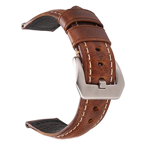 Vintage Leather Watch Band EACHE Watch Strap Oil Wax Genuine Leather Replacement Watchband for Men for Women 22mm Light Brown Silver Large Buckle ()