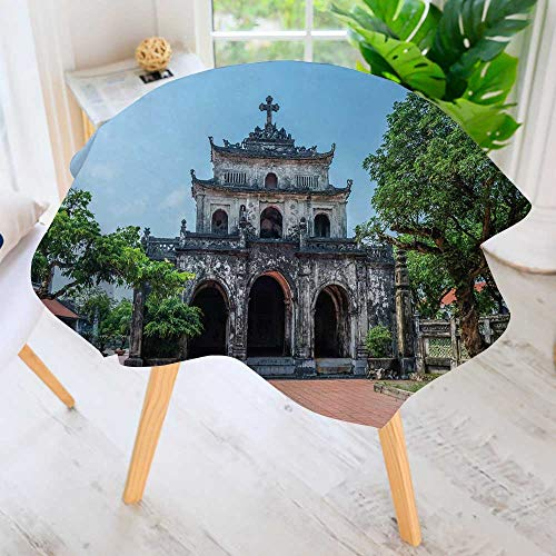 PRUNUS Polyester Dust-Prooftablecloth-Ninh Binh Vietnam nov The phat Diem Cathedral for Kitchen Dinning 47.5