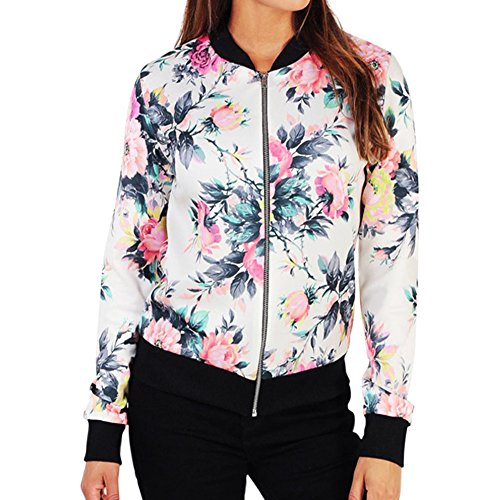 Short Coat Outerwear Up Long White Top Jacket Floral Sleeve Baseball Varsity Zip LAEMILIA Bomber Women 4qw7R