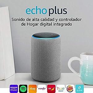 Echo Plus (2.ª generación), tela de color gris oscuro + Philips Hue White BombillaLED E27