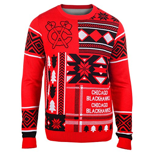 Chicago Blackhawks Patches Ugly Crew Neck Sweater Extra Large]()