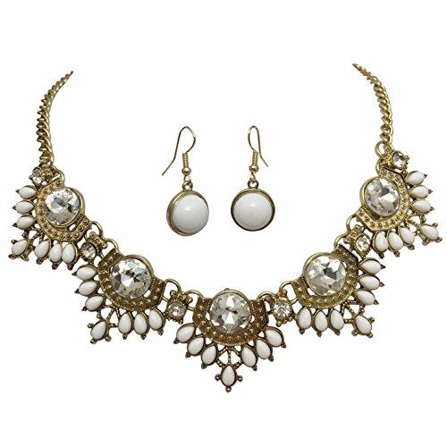 - Bohemian Fan Statement Gold Tone Boutique Bib Bubble Necklace Earrings Set BOHO (WHITE)