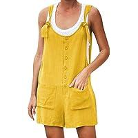Tomwell Mono Corto Mujeres Verano Playa de Las Mujeres Pantalones de algodón de Lino Mamelucos Mono Suelto Overoles…