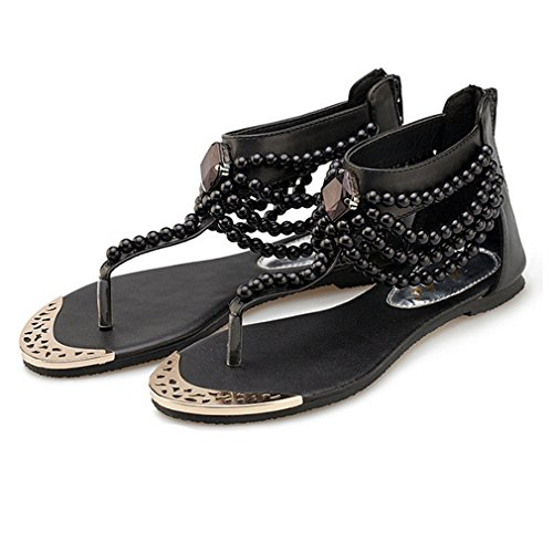 - Womens Summer Flat Sandals Party Bridal Sexy T-Strap Bohemian Beads Back Zip Thongs for Girls Black