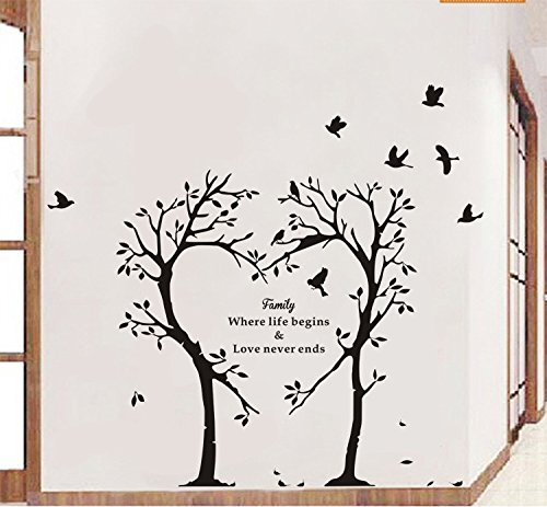 Boodecal Nature Series Heart Tree Quote Wall Decal Mural Sticker Decor For  Nursery Bedroom Living Room 39*35 Inches (39*35 Inches) Part 90