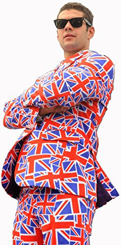 Opposuits Mens 'Mr. Jack' Flag of England Party Suit and Tie (Mr Men Fancy Dress)