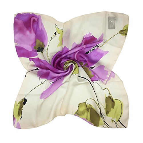 TONY & CANDICE Women's Graphic Print 100% Silk, Silk Scarf Square , 33X33 Inches (Pink Flowers Print) ()