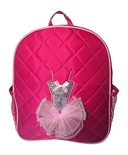 Dance Backpack Fuchsia Quilted Sequin Ballerina Tutu Backpack Medium Girls 4-9 (Barbie And The 12 Dancing Princesses Names)