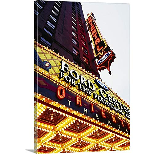 GREATBIGCANVAS Gallery-Wrapped Canvas Entitled Low Angle View of neon Signs on a Building, Ford Center for The Performing Arts Oriental Theatre, Chicago, Illinois by 40