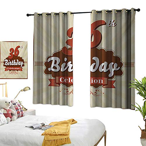 Bedroom Curtains W63 x L45 36th Birthday,Birthday Celebration Invite Chocolate Wrap Like Image Middle Age,Cinnamon and Brown Living Dining Room Curtain 2 Panels Set