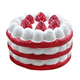 Slow Rising Squishy Slice Cake Cream Scented Slow Rising Hand Wrist Toy (Red)