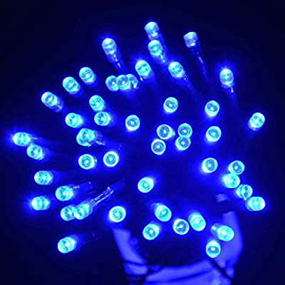 Expower Waterproof Solar Powered Fairy String Lights 33ft 10m 100 LED 2 Modes Christmas Lights for Outdoor, Gardens, Fence, Path, Landscape Decoration, Homes, Wedding, Christmas Party(100 LED Blue)