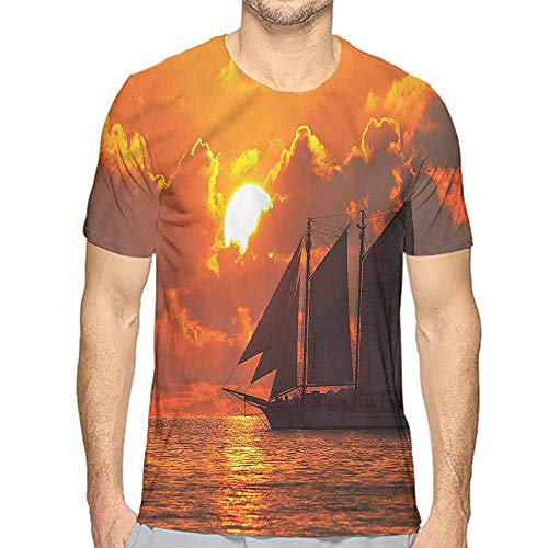 Funny t Shirt Sailboat,Sunset in Key Florida Men's and Women's t Shirt S]()