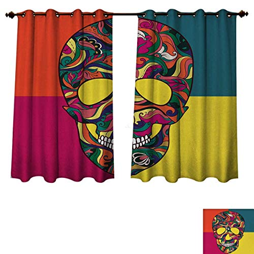 Anzhouqux Sugar Skull Blackout Thermal Curtain Panel Colorful Calavera Themed Artwork Catrina Day of The Dead Mexican Culture Theme Patterned Drape for Glass Door Multicolor W72 x L84 inch ()