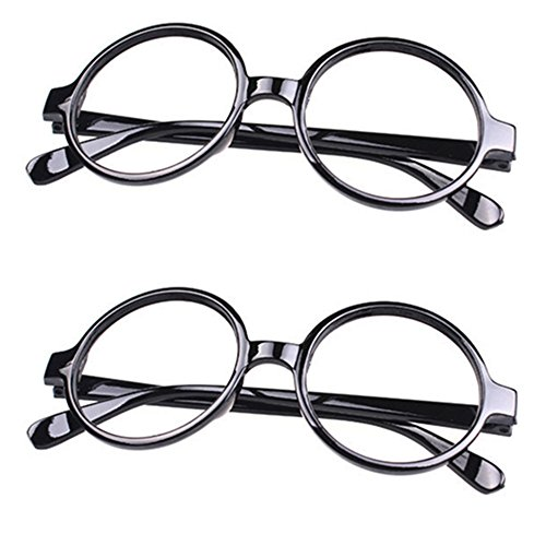 FancyG Retro Geek Nerd Style Round Shape Glass Frame NO LENSES Costume Eyewear 2 Pieces Set - Black x 2 (Glasses Wear Geek)