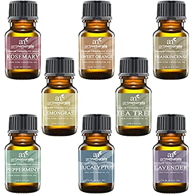 Art Naturals Top 8 Essential Oils – 100% Pure Of The Highest Quality Essential Oils – Peppermint, Tee Tree, Rosemary, Orange, Lemongrass, Lavender, Eucalyptus, & Frankincense – Therapeutic Grade, Great For Massage, Aromatherapy, Healing, Revitalizing, SPA Treatments, Focus, Meditation and Much More