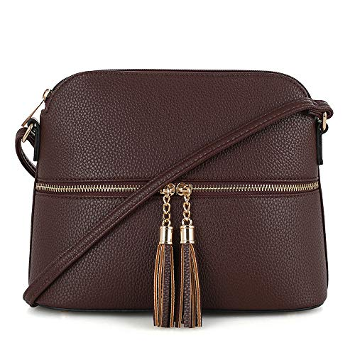 SG SUGU Lightweight Medium Dome Crossbody Bag with Tassel | Zipper Pocket | Adjustable Strap (Dark Brown)