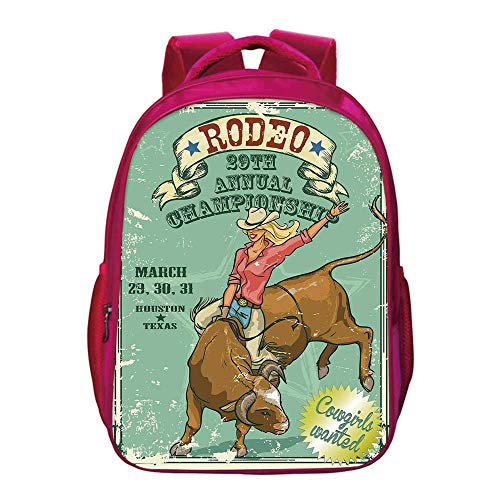Retro Printing Backpack,Rodeo Cowgirl on the Bull Annual Championship Vintage Poster Pattern Grunge Design for Kids Girls,11.8
