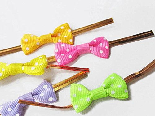 200 pcs Spotted Candy color Ribbon Bow Twist Tie Party Favor Decorations Lollipop Gifts Packgae