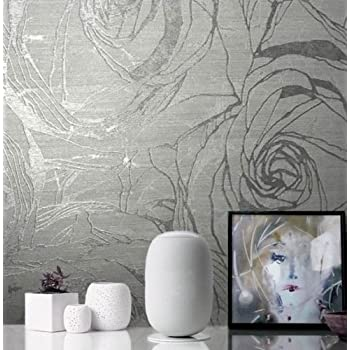 76 Sq Ft Made In Italy Portofino Textured Platinum Wallcoverings Rolls Modern Embossed Vinyl Wallpaper Silver Gold Gray Metallic Floral Large Roses