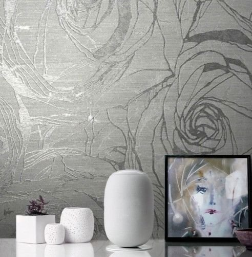 76 sq.ft Made in Italy Portofino Textured Platinum wallcoverings Rolls Modern Embossed Vinyl Wallpaper Silver Gold Gray Metallic Floral Large Roses Flowers Pattern Wall Paper coverings Washable 3D ()