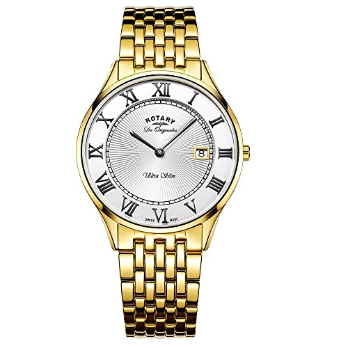 Rotary Watches Men's Ultra Slim Gold Plated Stainless Steel Bracelet Watch GB90803/01