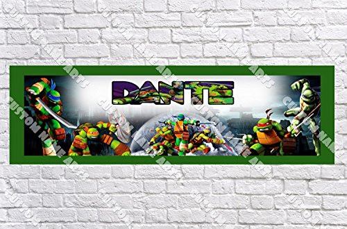 Personalized TMNT Teenage Mutant Ninja Turtles Banner - Includes Color Border Mat, With Your Name On It, Party Door Poster, Room Art Decoration - (Blue Ninja Turtle Name)