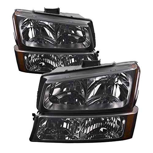 HEADLIGHTSDEPOT Black Housing Halogen 4-Piece Set w/Parking Lights Smoked Lens Headlights Compatible with Chevrolet Avalanche Silverado 1500 Classic Includes Left and Right Side ()