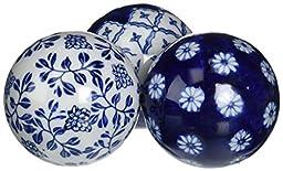 Deco 79 Ceramic Blue Ball S/6 3D