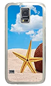 Samsung Galaxy S5 Starfish And Coconut In Beach Sand707 PC Custom Samsung Galaxy S5 Case Cover Transparent