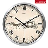 BABYQUEEN 12 Inch Creative wall Clock cute cartoon children's room bedroom ultra quiet clock Silver