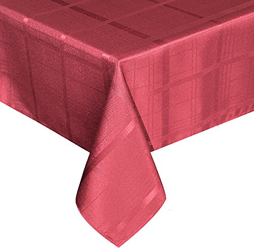 UFRIDAY Elegant Plaid Tablecloth Polyester Fabric Holiday Decorative Dinner Table Cloth Spill Proof, Machine Washable and Non-Disposable Use, Fancy Red, 60 inches x 120 inches