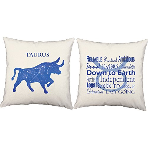 Set of 2 RoomCraft Taurus Throw Pillow Covers - 16x16 Inch White Zodiac Sign Shams