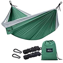 "Camping Hammock, Moko Outdoor Double Hammock 2 Person Portable Parachute Hammock Swing with Straps Travel Hammock for Camping, Backpacking, Beach, Yard, Hiking (Weather Resistant,118"" x 78"")"