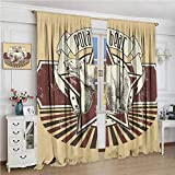 GUUVOR Animal Blackout Curtain Vintage Retro Polar Bear Label with Bold Stripes Artwork Image 2 Panel Sets W96 x L72 Inch Peach White Black and Burgundy