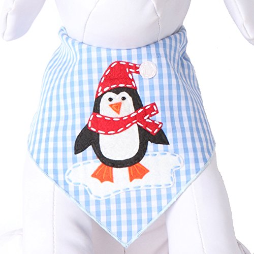 Tail Trends Christmas Dog Bandanas Penguin Designer Appliques 100% Cotton