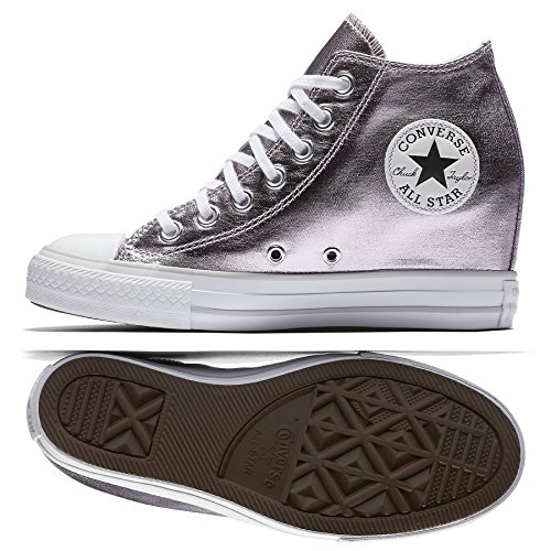 Sneakers Leather Wedge (Converse Womens Chuck Taylor Lux Wedge Sneaker Metallic (7 B US),Barely Fuchsia/White/Mouse)