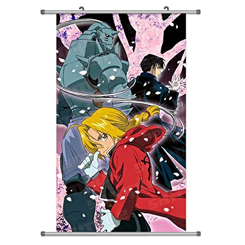(A Wide Variety of Fullmetal Alchemist Anime Characters Wall Scroll Hanging Decor (Edward Elric & Alphonse Elric & Roy Mustang 1))