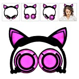 Headphone Cat Ear Headset,LED Light with USB Chargeable Foldable Earphones for Kids Teens Adults, Compatible for Ipad,Tablet,Computer,Mobile Phone LX-R107 (black&pink)